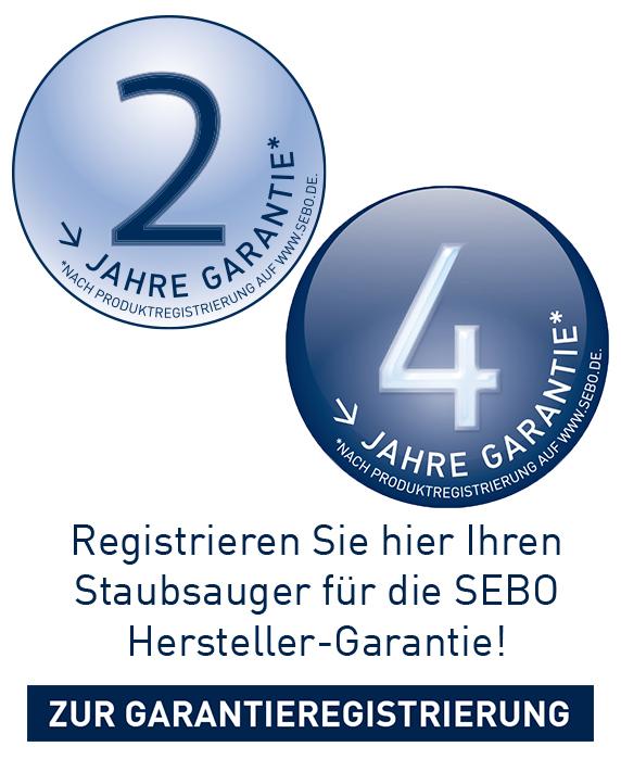 Registrieren Sie hier Ihren Staubsauger für die SEBO Hersteller-Garantie.